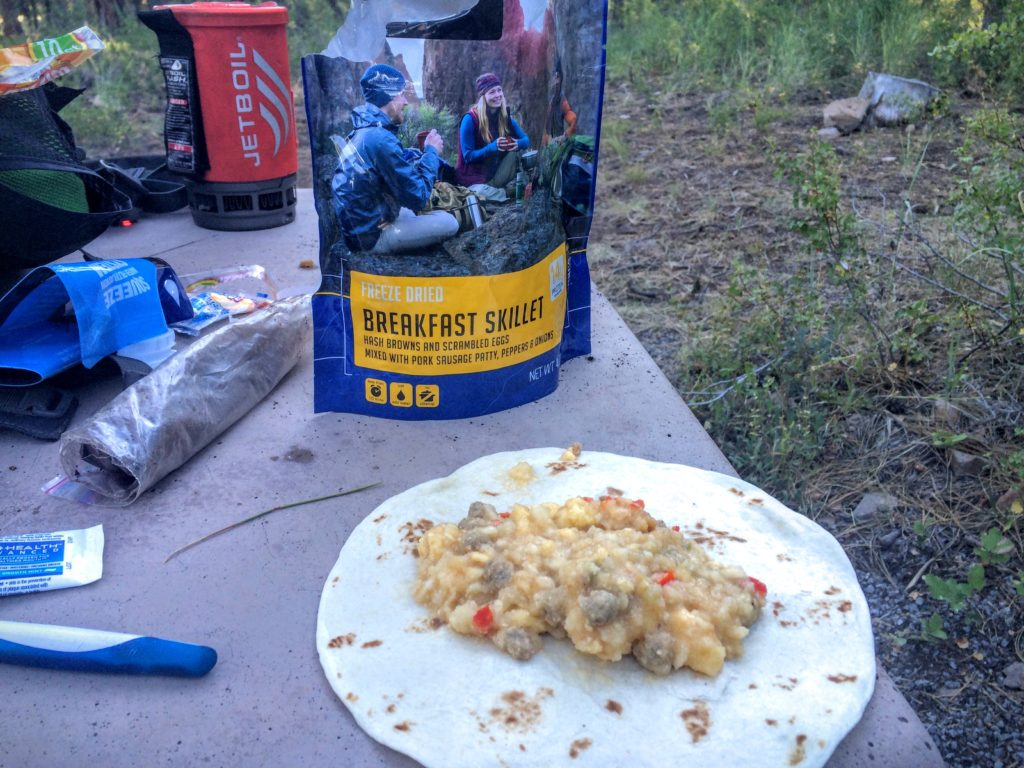 A quick, calorie dense breakfast cooked with a jetboil stove.